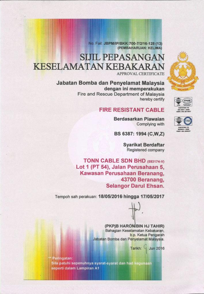 Malaysia Jabatan Bomba Tonn Cable Sdn Bhd